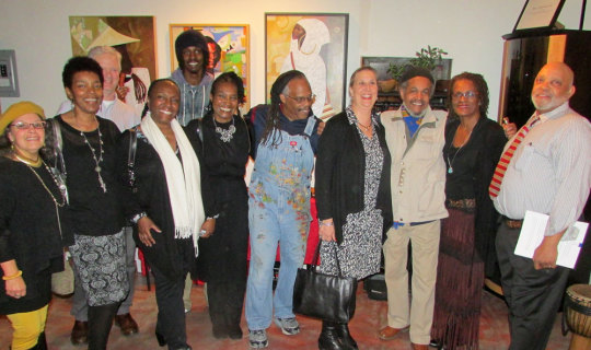 Julie Burros, fourth from right, with artists at the Susie Smith Gallery (Courtesy of Napolean Jones-Henderson)
