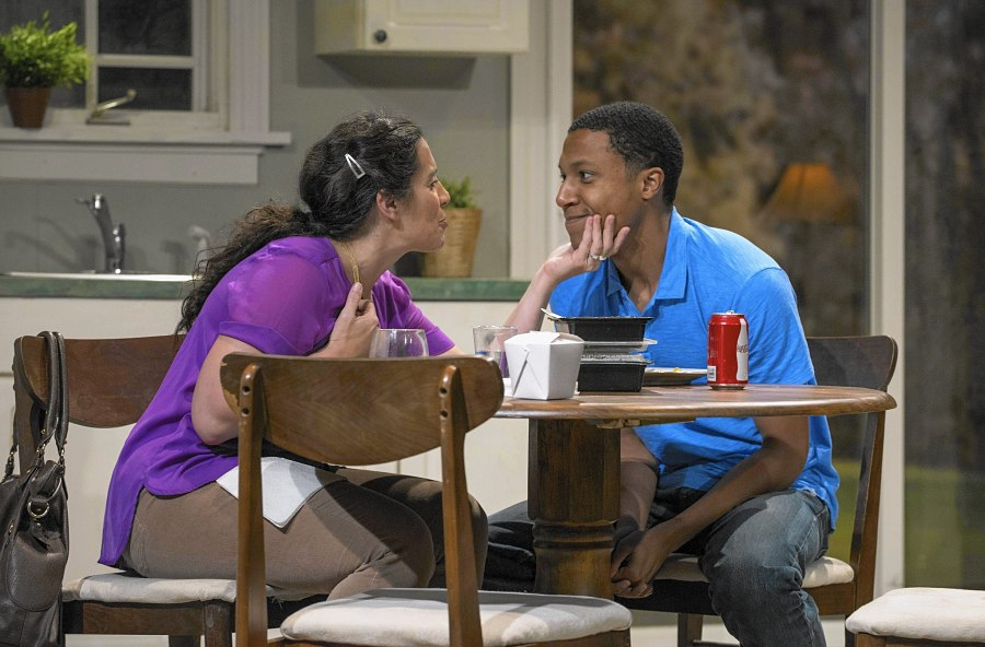 """Amy J. Carle and Jerry McKinnon in """"Luce,"""" Next Theatre's final production after 34 years. (Photo by Michael Brosilow)"""