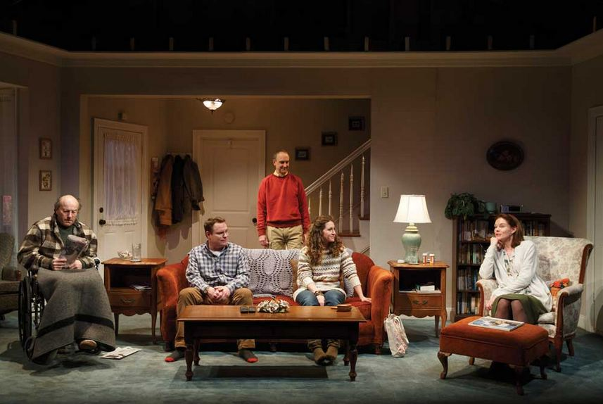 "Peter Friedman, Danny McCarthy, Michael Countryman, Hannah Bos and Carolyn McCormick in ""The Open House"" by Will Eno at Signature Theatre. (Photo by Joan Marcus)"