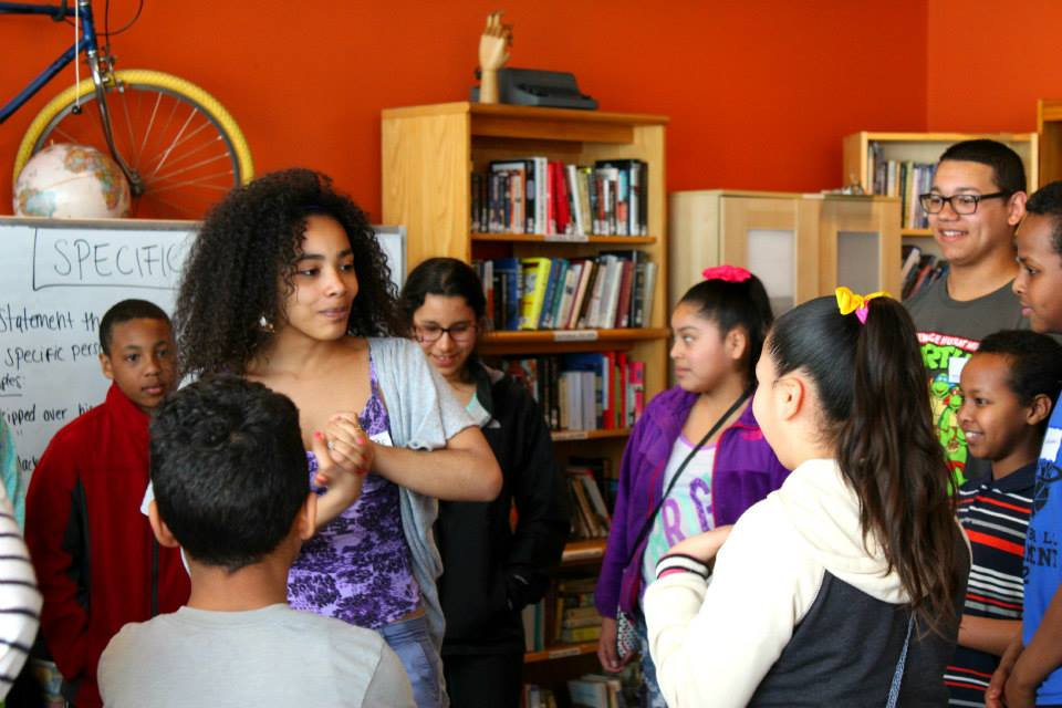 C1 Apprentices and Education Associate, Stephanie Recio led a monologue writing workshop for students at 826 Boston, November 2014.