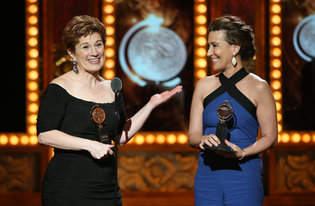 "Lisa Kron, left, and Jeanine Tesori accepting a Tony Award for best score, for their collaboration on ""Fun Home."" Credit Sara Krulwich/The New York Times"