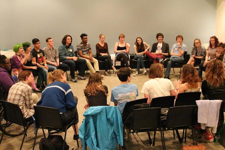 Berkeley Rep's teen council gathers at a monthly meeting. (Photo by Ben Hanna)