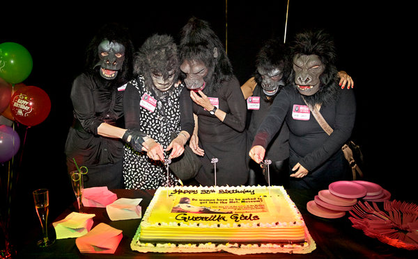 The 30th birthday party for the Guerrilla Girls at the Abrons Art Center in Manhattan in May. Credit Benjamin Norman for The New York Times