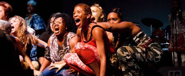 The Medea Project presents My Life in the Concrete Jungle at the Lorraine Hansberry Theatre in San Francisco. Performers include Gee Dee, Felicia Scaggs, Summer Shapiro, Tamika Chenier, and Andrea Wilson. Photo courtesy of the Medea Project