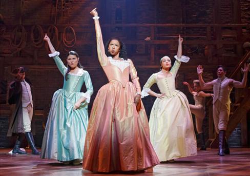 L to R: Phillipa Soo, Renee Elise Goldsberry, & Jasmie Cephas Jones in Hamilton