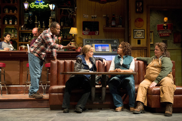 "From left, Carlo Albán, Jack Willis, Kevin Kenerly, Terri McMahon, Kimberly Scott and K. T. Vogt in ""Sweat."" Credit Jenny Graham"