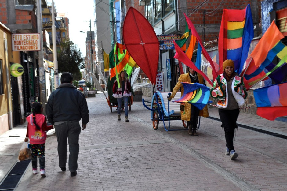The mobile park on parade in El Alto this summer. (Megan Hoffman)