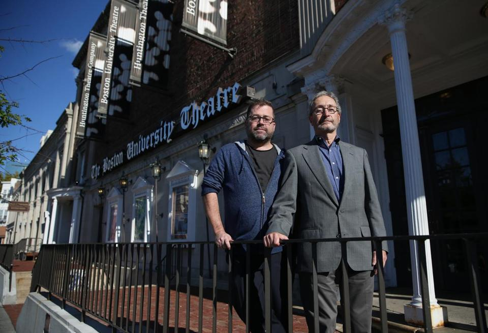 Huntington Theatre Company artistic director Peter DuBois, left, and managing director Michael Maso in front of the BU Theatre.  Jonathan Wiggs/Globe Staff