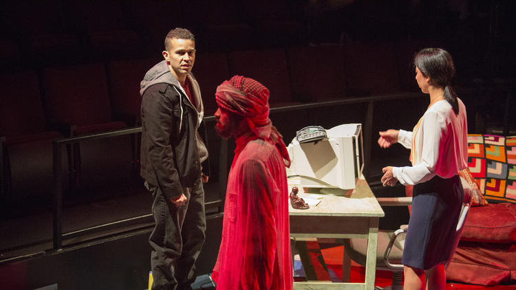 """Rey Lucas, left, M. Keala Milles, Jr., and Sarah Nina Hayon in Quiara Alegr'a Hudes's Pulitzer Prize-winning play """"Water by the Spoonful"""" on May 11, 2014. (Jim Cox)"""