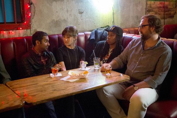 "From left, Mr. Ansari, Noël Wells, Lena Waithe and Eric Wareheim in the Netflix series ""Master of None."" Credit K.C. Bailey/Netflix"