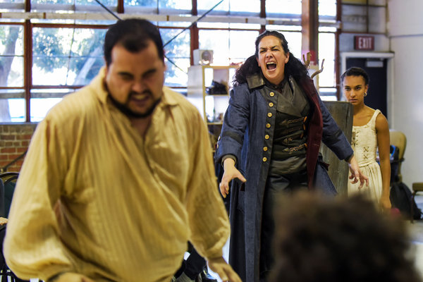 "From left, John R. Lewis, Catherine Castellanos and Tristan Cunningham during a rehearsal of California Shakespeare Theater's production of ""The Tempest."" Credit Alessandra Mello"