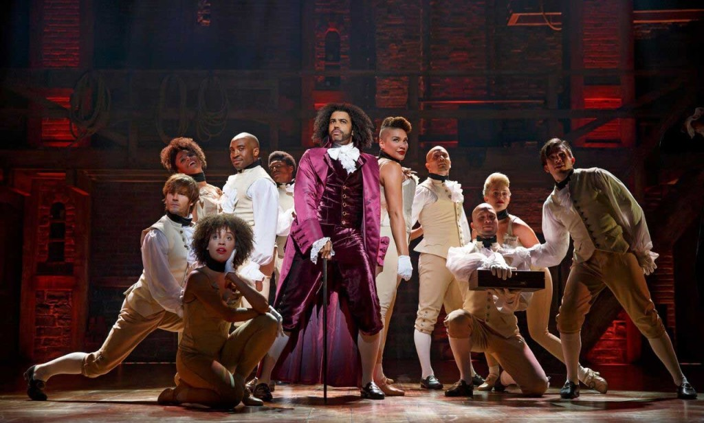 "Daveed Diggs (center) as Thomas Jefferson in ""Hamilton."" (Photo by Joan Marcus)"