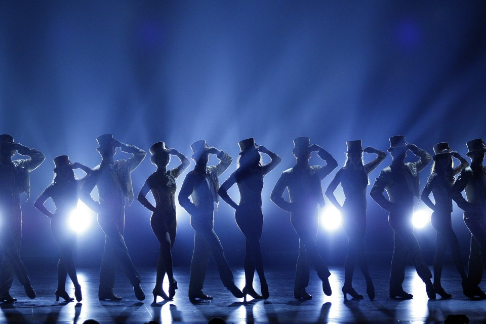 """The cast of """"A Chorus Line"""" performs at the Tony Awards in 2007."""