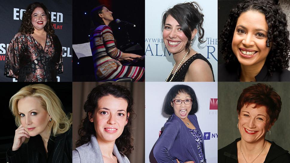 Top: Liesl Tommy, Sara Bareilles, Rachel Chavkin and Masi Asare Bottom: Susan Stroman, Quiara Alegría Hudes, Baayork Lee and Lisa Kron