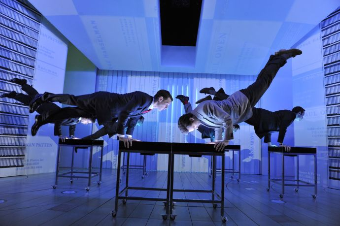 "Devlin's set for the musical ""American Psycho"" at the Almeida Theatre, in London. The production is transferring to Broadway. Courtesy Robbie Jack / Corbis"