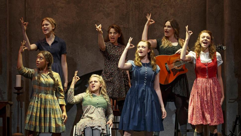 Treshelle Edmond, Ali Stroker, Amelia Hensley, Lauren Luiz, Kathryn Gallagher, Krysta Rodriguez and Alexandra Winter in Spring Awakening (Joan Marcus )