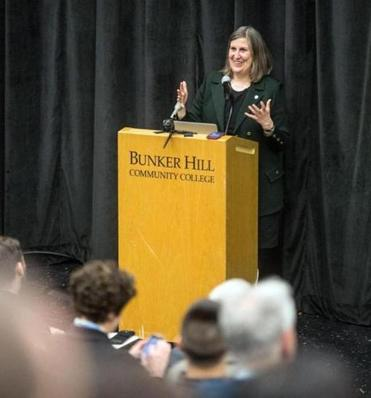 Julie Burros, Boston's chief of arts and culture, during a Boston Creates town hall in March at Bunker Hill Community College. / Aram Boghosian for The Boston Globe/file