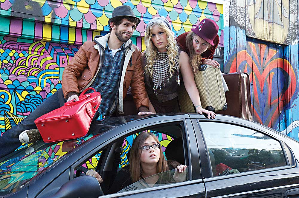 """Actors Stephen Frothingham, Amelia Van Brunt, and Gloria McDonald, with """"Egg Play"""" writer/producer Candice Benge (in car). (Photo by John Wolfstone)"""